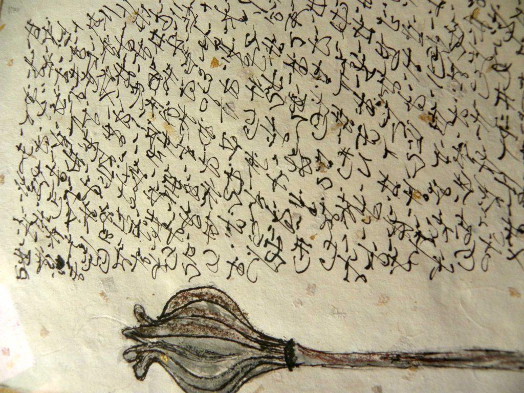 schrift op handgeschept papier met vrucht klaproos